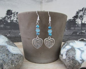 "Silver earrings, blue natural stones, engraved heart ""Heart"""