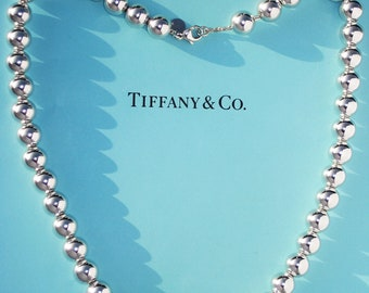 Tiffany Sterling Silver 10mm Ball Necklace 18 inches Length with box and pouch