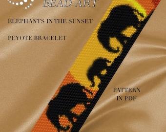 Pattern for bracelet, Peyote Elepants in the sunset peyote bracelet cuff pattern in PDF instant download