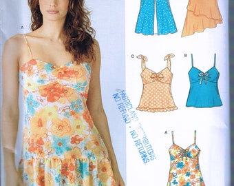 Size 6-16 Misses' Top Sewing Pattern - Gathered Bust Halter Top - Tunic Top With Ruffle Hem - Asymmetrical Hem - Summer Top - New Look 6386