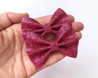 Dark Pink Glitter Felt Pigtail Hair Bow Set // Spring Easter Piggie Bows Hair Clips // Pigtail Bows Mini Bows Baby Toddler Bow