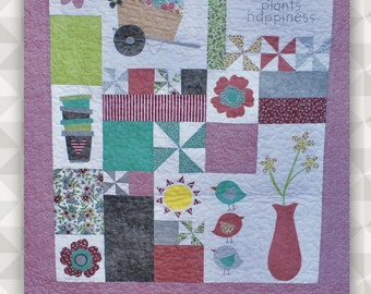 Instant Download- Plant A Garden (A Garden Theme Applique and Embroidery Quilt Pattern). Flower Quilt. Garden Quilt. DIY Wallhanging