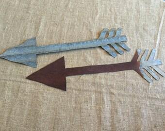 """19"""" rustic tin arrows, rustic tin arrows, tin arrows, tribal decor, tin tribal decor, handcut arrows, corrugated tin arrows, metal arrows"""