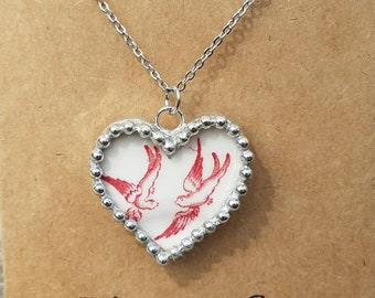 Red Willow, Blue Willow, Love Birds, Broken china jewelry, broken china necklace, soldered pendant, gift for mom, grandma, Mothers Day gift