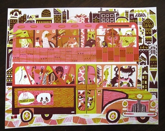 Make Way, It's the Mobile Zoo- four color screenprint