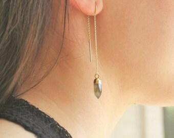 Gold Threader Earrings, Boho Earrings, Dangle Earrings, Gemstone Drop Earrings, Gold Earrings, Edgy Earrings, Dangling Earrings