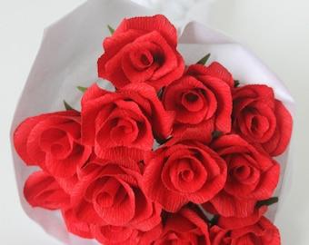 Dozen paper roses,paper flowers,red rose bouquet,wedding bouquet,valentine day,anniversary flowers