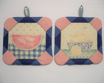 Farmhouse Fruit, Insulated Pot Holders, Set of 2, Hot Pad, Trivet, Potholder, For the Kitchen, For the Cook