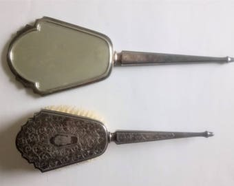 Vintage Antique Hand Mirror And Brush Silver Plate Hand Mirror Brush