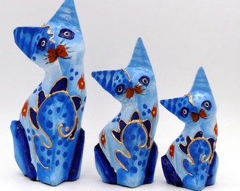 Set of 3 cats family wooden cat painted