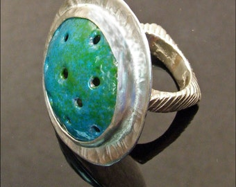 Handmade Enamel and Sterling Silver JETSON RING in Blue Green Turquoise - One of a Kind Artisan Jewelry, Fine Metal Statement Cocktail Ring