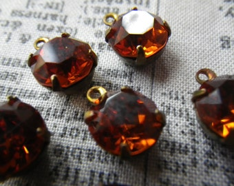 Sparkly Swarovski Madeira Topaz 40SS or 9mm Round Brass Ox Drops 6 Pcs