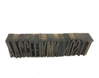 Set of 16 Letters Wood Block Letterpress Type Set, Antique Printing, Vintage Craft Supplies, Scrapbooking