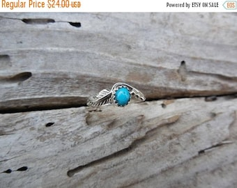 ON SALE Turquoise feather ring handmade in sterling silver