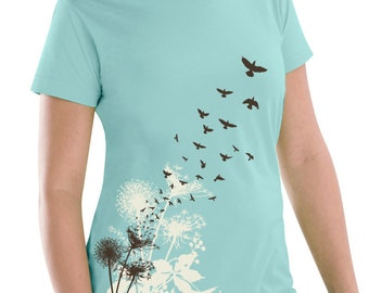Dandelions Women's Plus Size T-Shirt, Dandelion Print, Dandelions and Birds Sea Green T-shirt, Artsy T-shirt