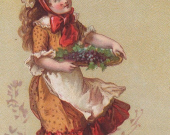 Girl With Grapes - Niagara Corn Starch - Original Antique Victorian Trade Card