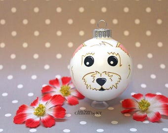 Westie Dog Christmas Ornament READY TO SHIP Hand Painted Glass Bauble Pet Portrait Pet Painting Pet Loss Gift Pet Memorial Dog Owner Gift
