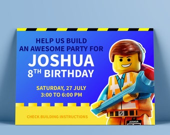 Lego Party Birthday Invitation - Lego Movie Invitation - Boy invitation CUSTOM PRINTABLE