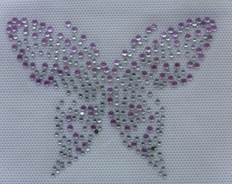 Butterfly rhinestone Butterfly silver and pink fusible