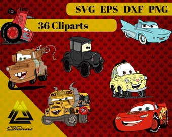 Cars Clipart – 36 (Svg, Eps, Png, Dxf Files) 300 PPI, Vectorial Images, cars svg, T-Shirt Design, cars Printable,lightning mcqueen svg ,