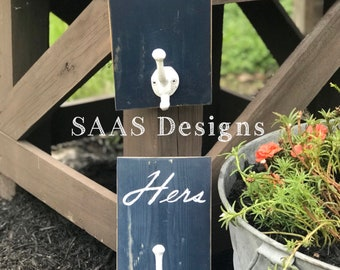 """Rustic Painted """"His & Her"""" Hooks"""