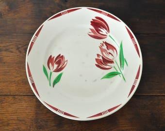 Badonviller serving platter, antique ceramic serving plate, floral pattern with tulips