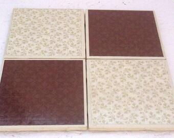 Brown & Cream  Ceramic Tile Coasters, Set of 4