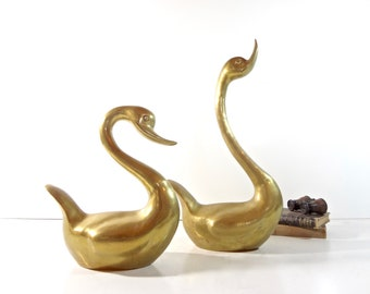 Vintage Brass Swan Statues / Set of Two Extra Large Bird Animal Figurines / Mid Century Decor