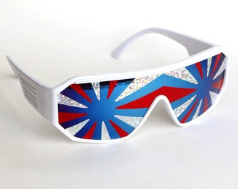 Rasslor Style America 3 Star Burst Shield Sunglasses