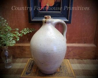Primitive Antique Ovoid Stoneware Jug | Farmhouse Decor