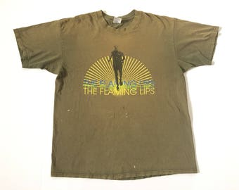 1990s THE FLAMING LIPS The Soft Bulletin Era Distressed Thrashed Oversized Threadbare Vintage T Shirt // Size Xlarge