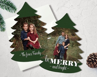 Christmas Photo Card | Holiday Card | Merry Christmas Card | Holiday Greeting Card | Tree Die-Cut Card | Photo Card | Be Merry and Bright