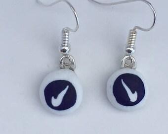 Dark Cobalt & White Fused Glass Millefiori Earring