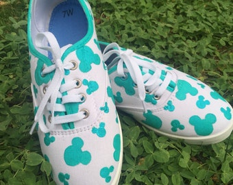 Teal Mickey head shoes