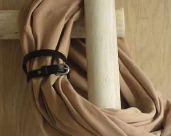 Cotton scarf, Infinity scarf, Scarf  with leather cuff - Rachel
