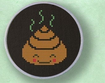 Miss Dung Cross Stitch Pattern. Poop Modern Simple Cute Cross Stitch PDF Pattern Instant Download