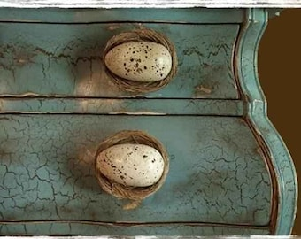 Hand painted robin's egg blue chest with egg and nest pulls.