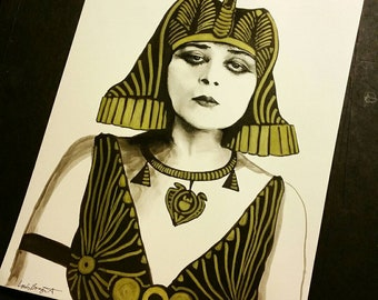 Theda Bara- Charcoal Ink Gold Drawing Sketch by Louis Braquet Art