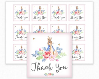 Peter Rabbit Baby Shower Printable Favor Tag - Peter Rabbit Favour Tag - Peter Rabbit Baby Shower Thank You Tag - Pink Peter Rabbit