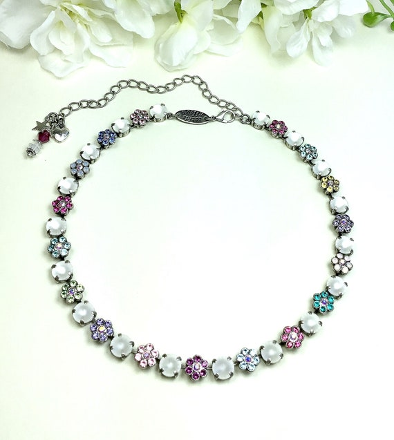 "Swarovski Crystal 8.5mm Necklace - ""Pastel Flower Garden"" - Special One Of A Kind - Multi- Colored   -  Feminine Flowers -FREE SHIPPING"
