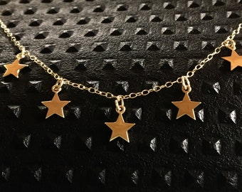 14K Yellow Gold stars necklace customize stars shaker necklace shaker choker boho style necklace