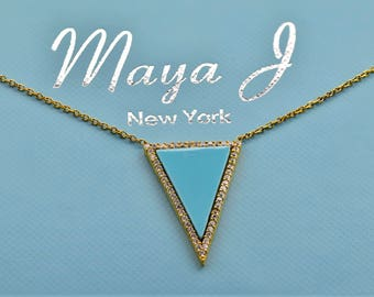 Maya J Turquoise Triangle Necklace 18K Gold