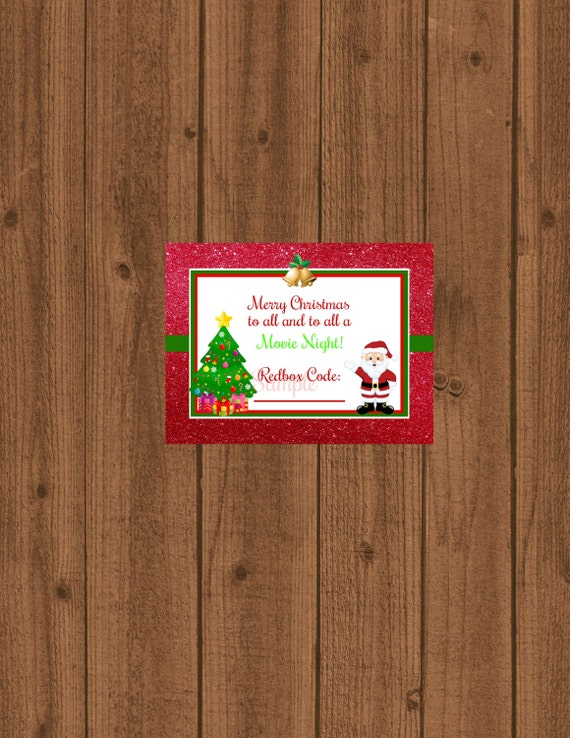 Items similar to Redbox Gift Tag, Movie Certificate, To all a Movie ...