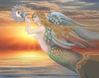 Angel, Sailing Ship Ornament, Sea Shell, Mermaid Angel, Bright Sunset, Archival Print, Sea Guide