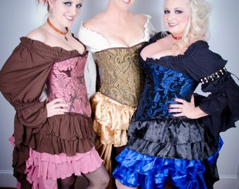 Choose Your Own Fabric, Custom Corset, Message for Details. Steampunk Victorian Overbust Steel Boned Authentic Corset, Pirate, Renaissance