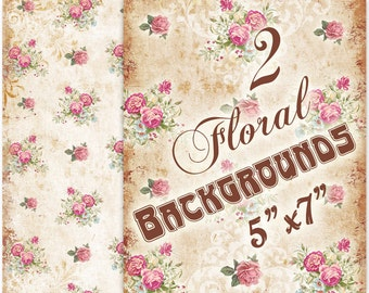 Vintage Florals backgrounds 5 x 7 inch Greeting cards Shabby Paper Scrapbook (333) Buy 3 - get 1 free