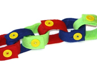 Felt Button Chain-Busy Bag Activity-Button Skills Activity-Fine Motor Skills Toy-Quiet Time Toy/Activity-Pattern Skills