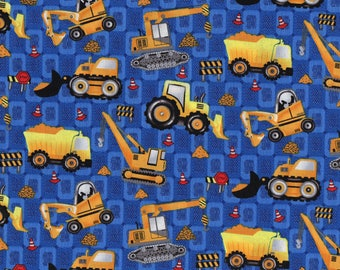 Kids boys fabric prints of trucks, cranes