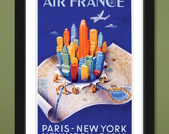 Travel Poster – Air France – Paris-New York (12x18 Heavyweight Art Print)