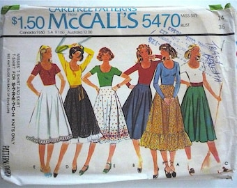 Vintage Sewing Pattern Women's 70's Mostly Uncut, McCalls 5470, T-Shirt, Skirt in Five Versions (M)